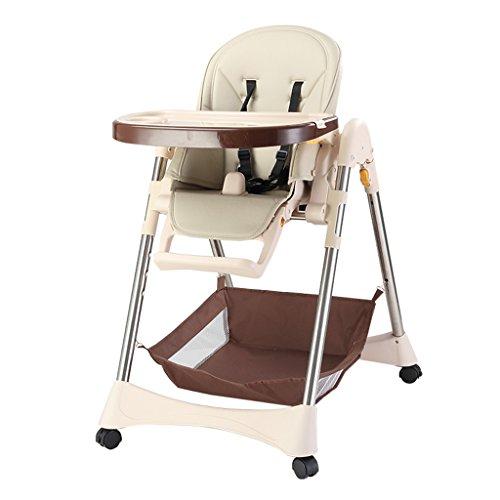 Chaise de Salle à Manger pour bébé Table et chaises pour Enfants Siège inclinable Pliable Portable pour Enfants Table pour Enfants pouvant être déplacée (Color : Beige, Size : 61cm*80cm*100cm)