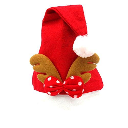 Chytaii Sombrero de Navidad Gorros Rojos de Papá Noel de Navidad Sombrero de Papé Noel de Felpa Corta...