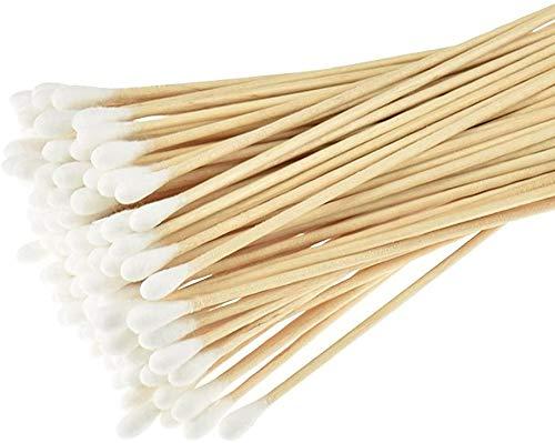 Lot de 400 longs bâtons en bois avec embout en coton - Coton-tiges pour le nettoyage, le retrait de maquillage et le soin de blessure
