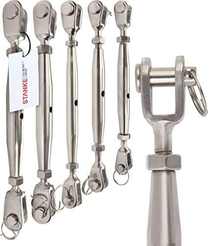 SET 4 Seilwerk STANKE C/âble d/'acier inoxydable V4A 4x Serre-c/âble /à /étrier V4A 100m diam/ètre 4mm 7x7 2x Tendeur M6 /Œil-Crochet en acier galvanis/é