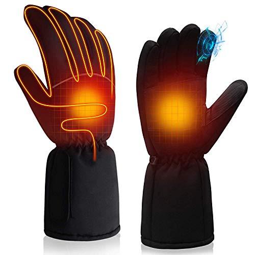 Svpro Guantes calentados a pilas para hombres y mujeres, guantes de calefacción eléctricos aislados impermeables para invierno, camping, senderismo, caza (4,5 V)