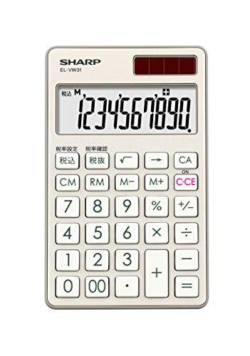 シャープ 電卓 手帳タイプ 高級感のある鏡面アルミパネル採用 シャンパンゴールド系 EL-VW31-NX