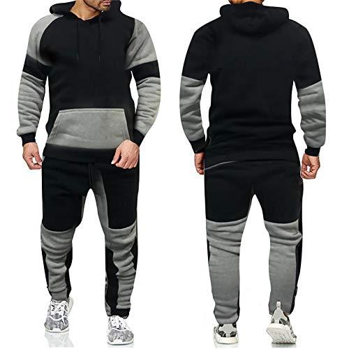 HOUXIAONI Traje Casual de chándal para Hombres, Sudadera con Capucha y Pantalones Deportivos 2 PCS Outfit, Correr Jogging Athletic Sportswear, Negro Black-L