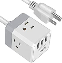 Power Strip, POWSAV Extension Cord with 3 USB Ports(Smart 3.0A Total) and 3-Outlet Extender, 5 Feet Cord, Compact Size for Cruise Ship, Home, Office,Dorm Essentials, ETL Listed