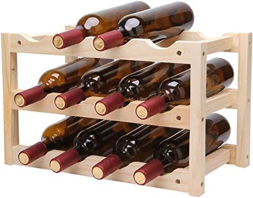 Estante Del Vino 12 Botellas De Pino Gratuito Pie De Mostrador Estantes Del Vino De Mesa Titulares De Vino De Almacenamiento Bases, Madera Color