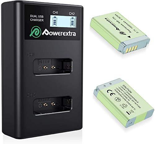 Powerextra 2 baterías de repuesto para Canon NB-13L de 1600 mAh y 1 cargador doble con pantalla LCD para Canon PowerShot G5 X G7 X G7 X Mark II G9 X G9 X Mark II SX620 HS SX720 HS SX730 HS
