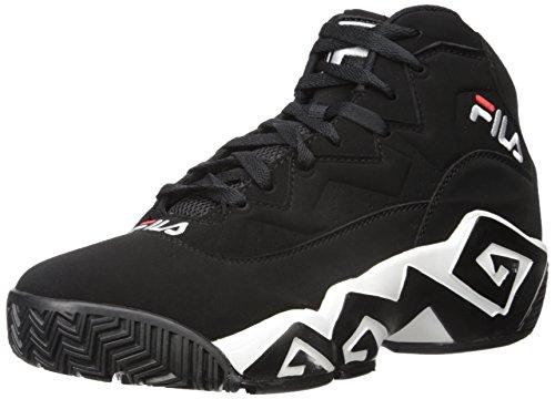 Fila Tenis de moda para hombre MB, negro (Negro/Blanco/Fila Rojo), 43 EU