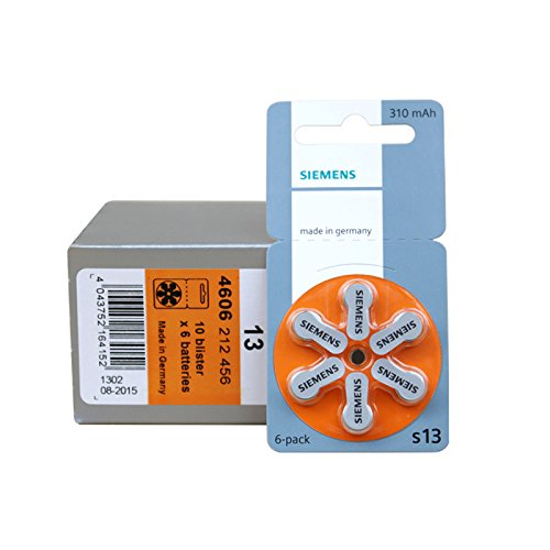 Piles auditives Siemens S 13 Pack de 60 piles