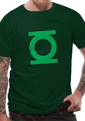 DC Comics Lantern Logo Crew - Camiseta de manga corta con cuello redondo para hombre, Verde (Green), Small