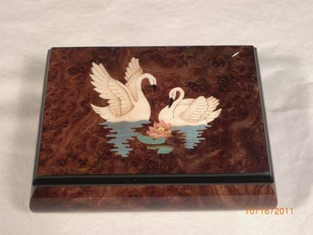 Made in Italy Sorrento Burled Walnut High Gloss Music Box with Two Swans Inlay - Somewhere Out There (Sankyo 18 Note)