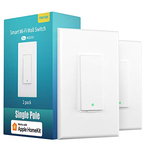 meross Smart Light Switch Supports Apple Homekit, Siri, Alexa, Google Assistant & SmartThings, 2.4Ghz WiFi Light Switch, Neutral Wire Required, Single Pole, Remote Control Schedule, 2 Pack