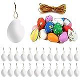 Gxhong Bianco Uova Pasquali 25 Pezzi Uova Decorazioni Artificiale Uovo Pittura di Artigianato Fai da Te con 25 Corda per Pasqua Natalizie