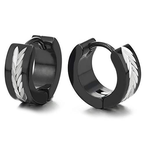 2 Plata Negro Pendientes del Aro con Espiga de Trigo Patrones Láser, Pendientes para Hombres Mujer, Acero Inoxidable