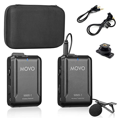 Movo WMX-1 2.4GHz Wireless Lavalier Microphone System Compatible with DSLR Cameras, Camcorders, iPhone, Android Smartphones, and Tablets (200' ft Audio Range) (Renewed)