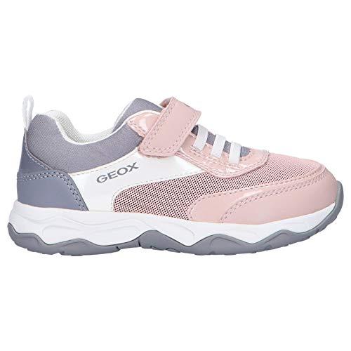 Geox Mädchen Low-Top Sneaker CALCO Girl, Kinder Sneaker,lose Einlage,Kinderschuhe,Sportschuhe,Freizeitschuhe,Grau (Grey/PINK),34 EU / 1.5 UK