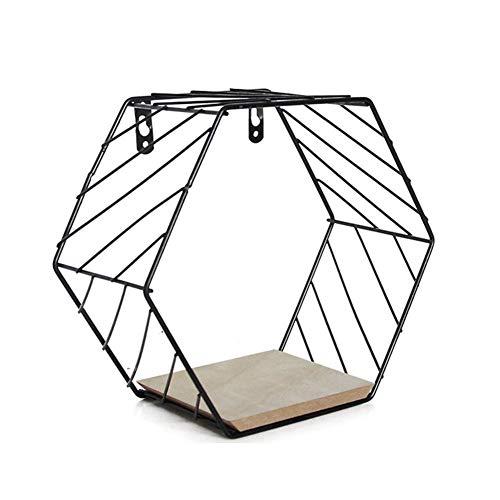 ZLAHY Kreatives sechseckiges Gitter aus Eisen, Wabenregal, kombinierter Wanddekorationsrahmen-Home Restaurant Study,Black