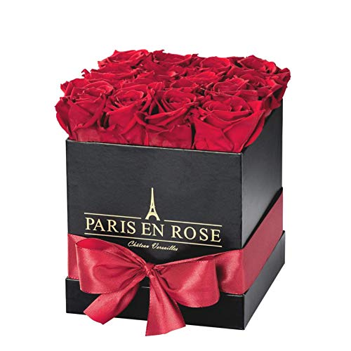 PARIS EN ROSE Château-Versailles Rosenbox, schwarz-Rot, Q | 3 Jahre haltbar |