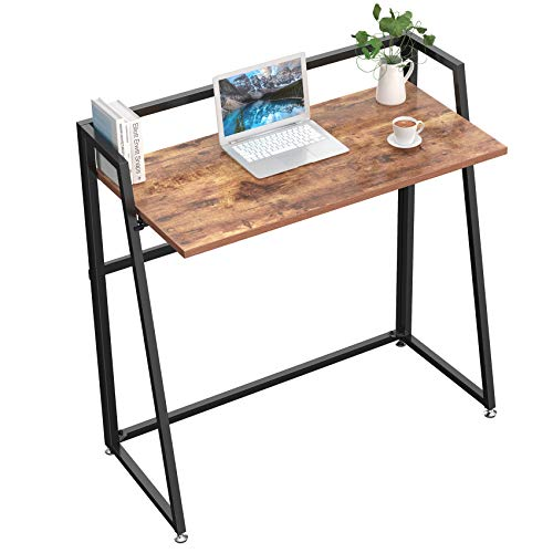 DESIGNA Folding Computer Desk, 33 inch Student Desk Folding, Writing Desk for Home Office, Fold Up Gaming Desk Wood Small Office Table for Teen Working & Crafting, Archaize Brown
