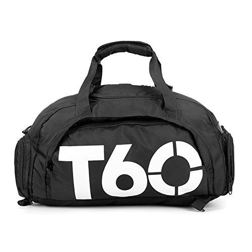 Bolsa de deportes unisex de 35 L, de gran capacidad, con compartimento para zapatos, de Obling, color Negro con blanco., tamaño 45*25*30 CM