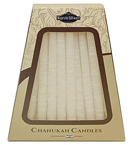 Majestic Giftware SC-CP11 Safed Handcrafted Hanukkah Candles, 6-Inch, White, 45-Pack