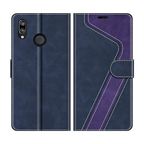 MOBESV Custodia Huawei P20 Lite, Cover a Libro Huawei P20 Lite, Custodia in Pelle Huawei P20 Lite Magnetica Cover per Huawei P20 Lite, Blu Scuro/Viola