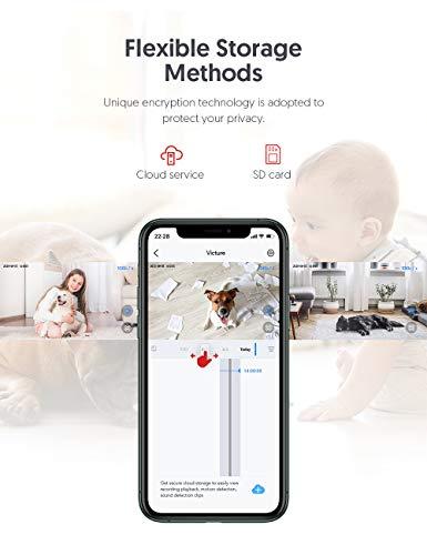[2020 aktualisierte Version] Victure WiFi IP-Kamera, 1080P FHD-Überwachungskamera, Babyphone mit Kamera, Bewegungsverfolgung und-erkennung, Schallerkennung, Umschaltbare Nachtsicht, Victure Home APP