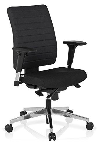 hjh OFFICE 608814 Bürostuhl PRO-TEC 350 Stoff Schwarz Bürodrehstuhl ergonomisch, Rückenlehne & Armlehnen verstellbar
