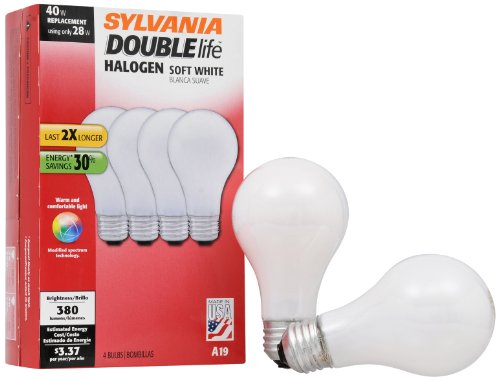SYLVANIA Halogen Lamp Double life/Dimmable Light Bulb A19 / Energy-saving replacement for 40W Incandescent/Medium base E26 / 28 Watt / 2700K – soft white, 4...