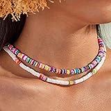 Fashband Boho Collar de gargantilla de arcilla suave Joyas de playa Collares de cuentas de concha de puka coloridos Cadena corta para mujeres y niñas.