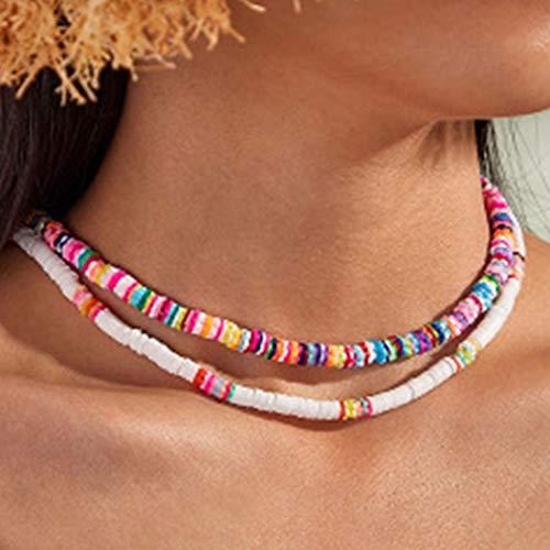 Fashband Boho Collana girocollo in argilla morbida Gioielli da spiaggia Collane colorate con perline di conchiglie Puka Catena corta per donne e ragazze.