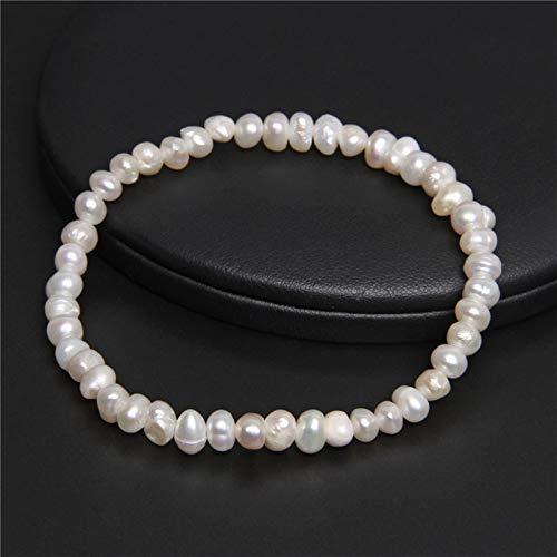 TLBB 5-5.5mm Pulsera de Perlas Blancas de Agua Dulce Natural Elástico Barroco Genuino Perlas Brazaletes de Cuentas Cadena para Mujeres Regalos de joyería Fina (Length : 19cm, Metal Color : White)