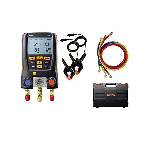 testo 550 I Digital Manifold Kit for air Conditioning, Refrigeration Systems and Heat Pumps - with Bluetooth and Set of 3 Hoses