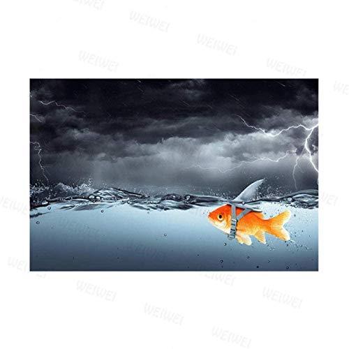 SXXRZA Pintura de Arte 40x60cm Sin Marco Peces Dorados Nadando en la tormenta Carteles e Impresiones Imágenes artísticas de Pared Inspiradoras para la decoración de la Sala de Estar