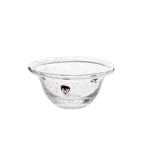 CRISTALICA Céréale Bol 14cm, Transparent/Rouge, Verre, (German Crystal Powered by