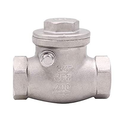 Swing Check Valve Stainless Steel - 3/4 Inch NPT Female WOG 200 PSI SS304 CF8M Rust Free from AIICIOO