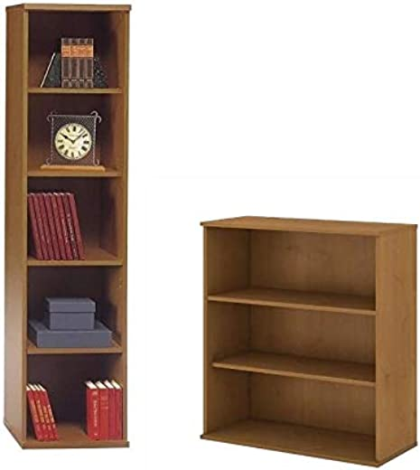 B07KH2GDRV✅Series C 2 Piece Office Short and Tall Bookcase Set in Natural Cherry