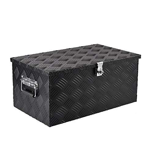 Rubeyul Transportkoffer Aluminiumkoffer Transportbox Werkzeugbox, Mit Tragegriffen, Schwarzer Metall Korpus, Transportkiste Deichselbox Truckbox Box, Abschließbar, 30x13x10Zoll