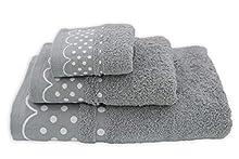 Acomoda Textil - Juego 3 Toallas de Baño 100% Algodón. Toalla Rizo con Cenefa Lunares 500 gr/m2. Pack 3 Toallas, Sábana Ducha, Lavabo y Tocador. (Gris)
