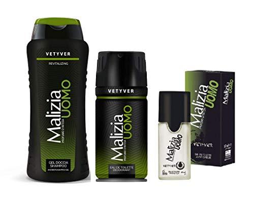 MALIZIA UOMO VETYVER set deo + duschgel + Parfum