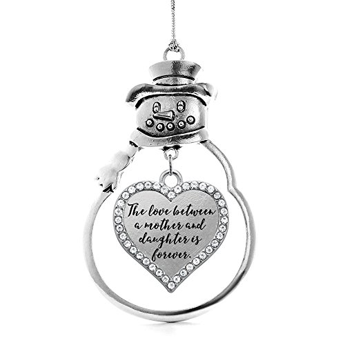 Inspired Silver - Mother and Daughter Bond Charm Ornament - Silver Open Heart Charm Snowman Ornament with Cubic Zirconia Jewelry