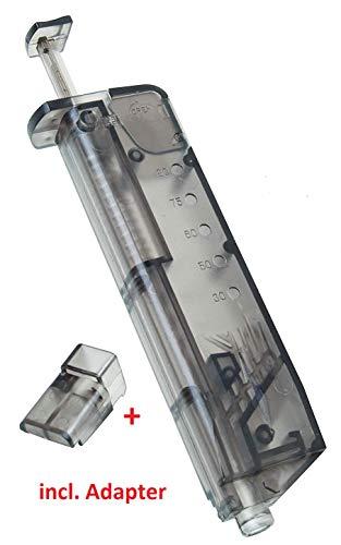 KOSxBO® Set Universal Speedloader 100 BB mit Pistolen Adapter für schnelles und sicheres Nachladen der Premium Airsoft 6MM BB Munition - Bio BBS Kugeln -