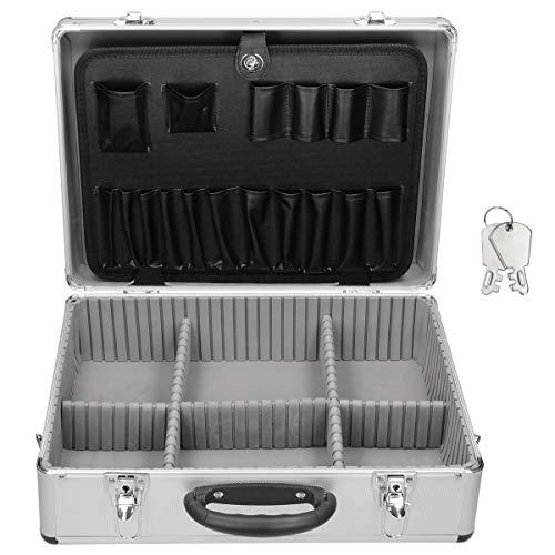 ECD Germany Aluminium-Werkzeugkoffer leer 45,5x15,5x33 cm, mit Metallverschlüssen abschließbar, verstellbare Facheinteilung, Alukoffer Mehrzweck-Koffer Allzweckkoffer Werkzeugkiste Alukiste Organizer