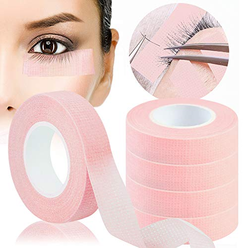 5 Rollen Wimpern Tape, Kalolary Rosa Tape Wimpernverlängerung Band, Wimpern Isolations Klebeband, Wimpernband für Wimpern Lash Extension Wimpernverlängerungswerkzeuge (0,5 Zoll x 10 Yards)