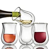 Wine Enthusiast Double Wall Flared Tumblers – Insulated Stemless Wine Glass (Set of 4)