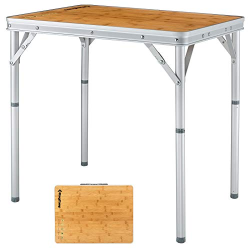 KingCamp Bamboo Folding Dining Table Lightweight and Portable with Adjustable Height Aluminum Legs for Outdoor Camping Picnic Garden Or Indoor Home Coffee Table