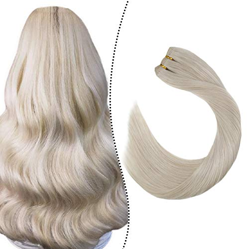 Ugeat Weft Bundle Human Hair 16inch Sew in Extensions Human Hair Double Weft Brazilian Human Hair Straight Weft Human Hair Extensions Blonde 100g/pack Weave Hair Bundles Thick Hair