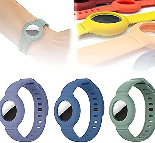 ZDDO Apple Airtag Silicona Band Brazalete Estuche Protector GPS Niños Anti-Lost, Anti-Lost Locator Watch Correa, Ligero y cómodo, A Prueba de Sudor, Resistente a rayones 3pcsC