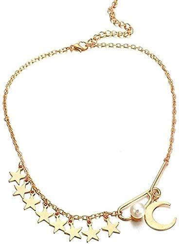 huangxuanchen co.,ltd Collar Collar Joyas Estrella Luna Colgante Gargantilla Collar Exquisito Cadena De Clavícula Joyería Regalos para Mujeres Niñas Collar Colgante Cadena para Mujeres Hombres