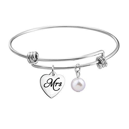 Mrs Bracelet Just Married Bracelet Wedding Bangle Gift (Mrs expandable bracelet)