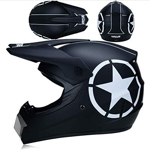 ZYW Außen Ridingunisex Motocross Helm, Erwachsene Cross-Country-Roller-ATV Motorrad Vollvisierhelm DOT Certified Brille Handschuhe Maske, Multi-Style, Blau, S, M, L, XL,Schwarz,XL